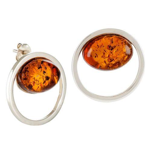 Stud Oval Cognac Amber Earrings