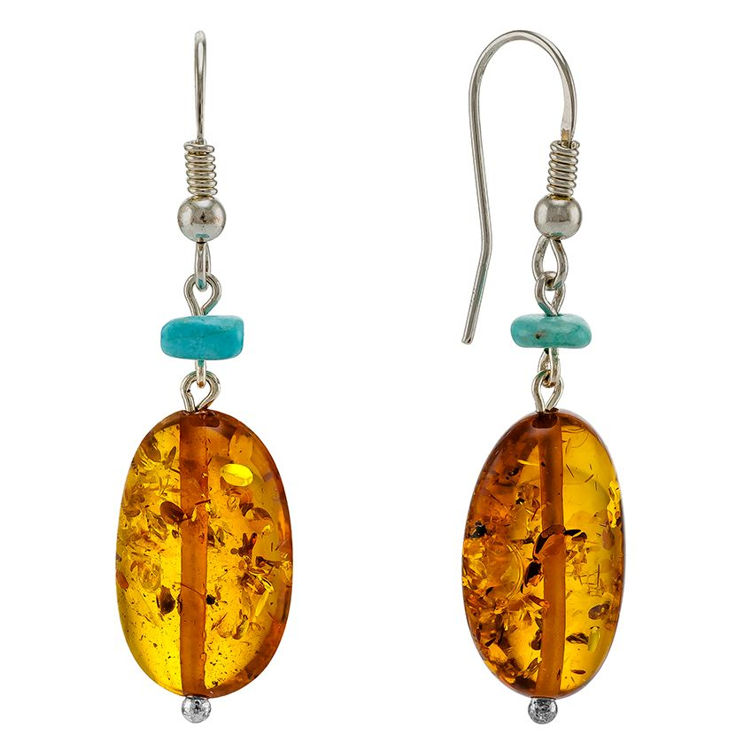 Cognac Baltic Amber drop earrings