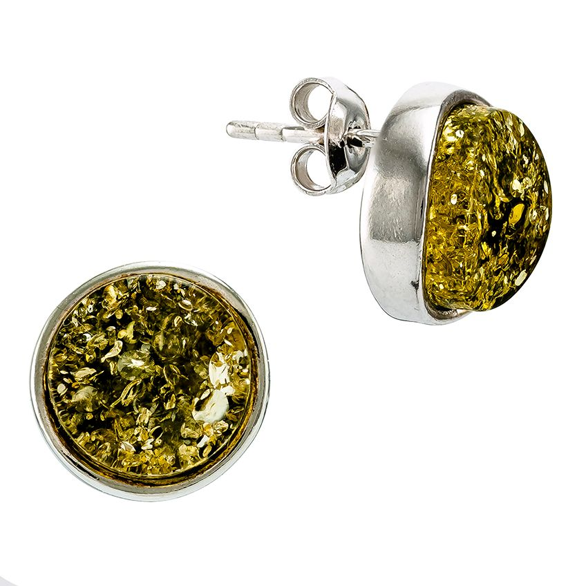 Green Amber Stud Earrings