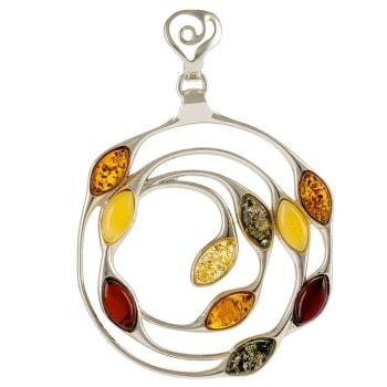 P064 - 258 Multicolour Amber Medallion pendant