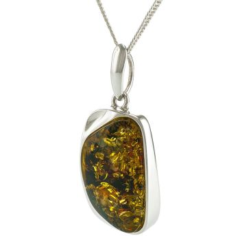 Green Baltic Amber Unique Pendant