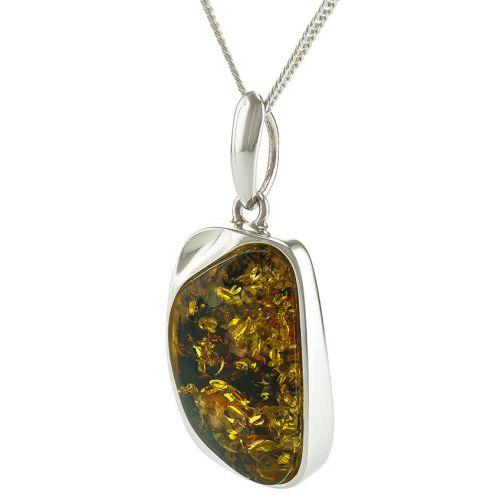 Green Baltic Amber Unique Pendant