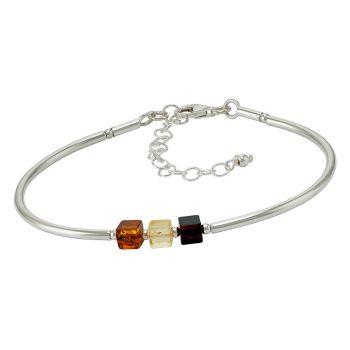 Tricolour Baltic Amber Silver Bracelet