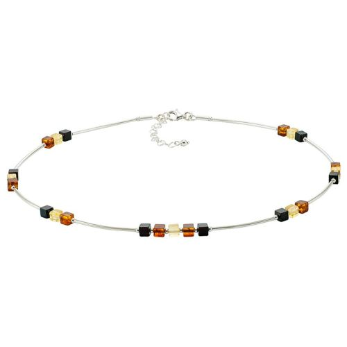 Tricolour Silver tube Necklace