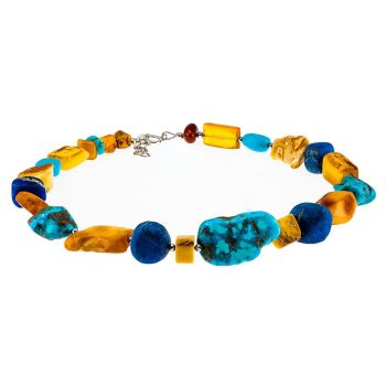 N026-Baltic Amber, Arizona Turquoise and Lapis Lazuli Necklace
