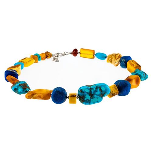 Baltic Amber, Arizona Turquoise and Lapis Lazuli Necklace