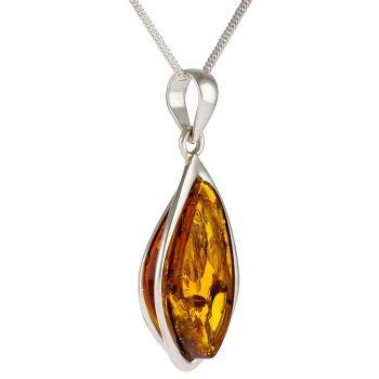 Semi-triangular Cognac Amber Pendant