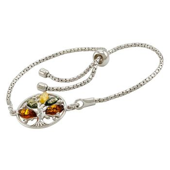 D025-Multicolour Amber Adjustable Bracelet