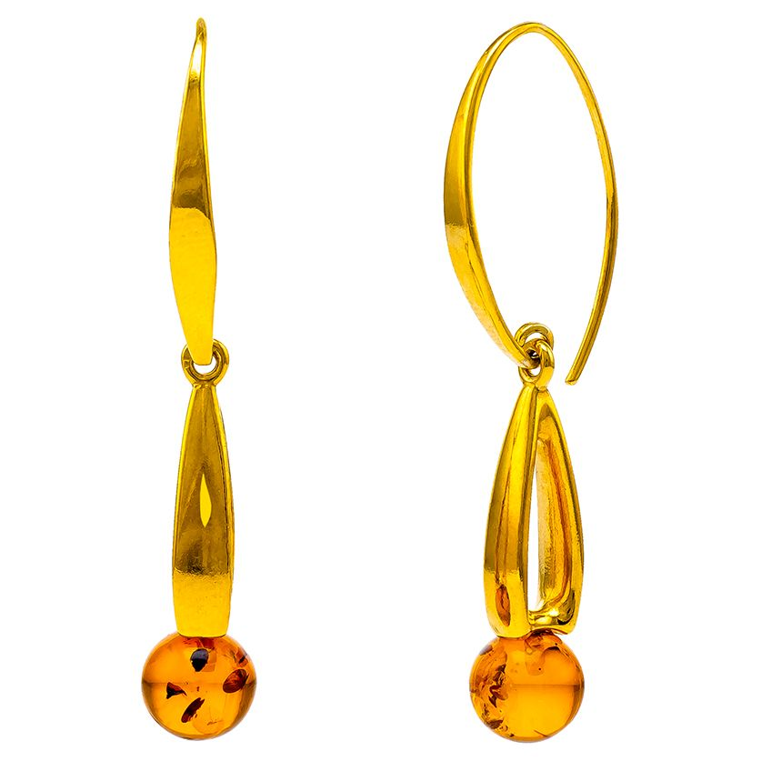 Amber bead and Goldplated Silver Earrings