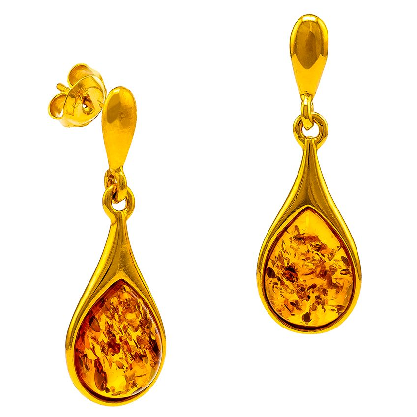Amber tear drop  stud earrings.
