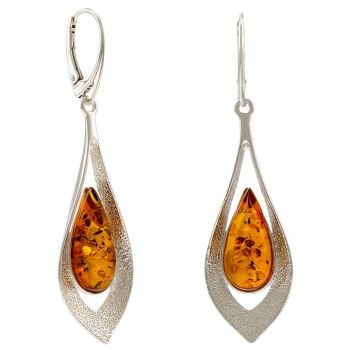 E075-Cognac Amber  Silver Drop Earrings
