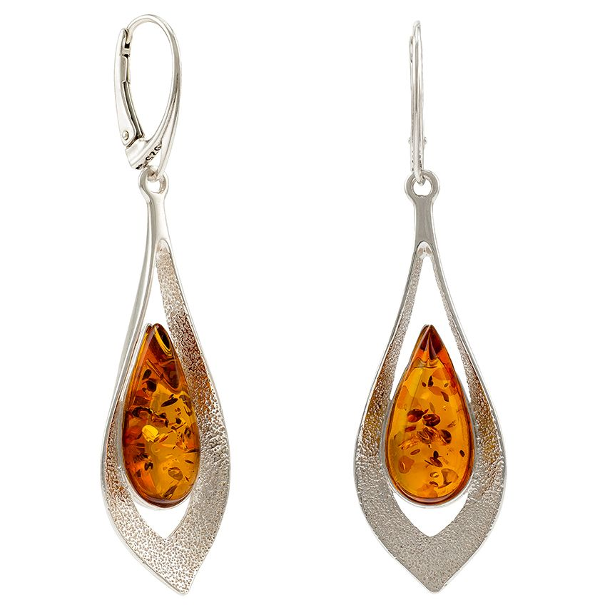Cognac Amber  Silver Drop Earrings