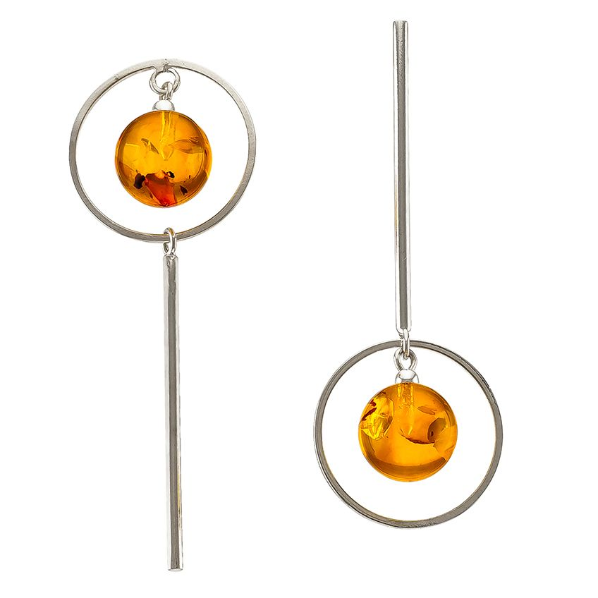 Assymetrical Amber SIlver circle Earrings