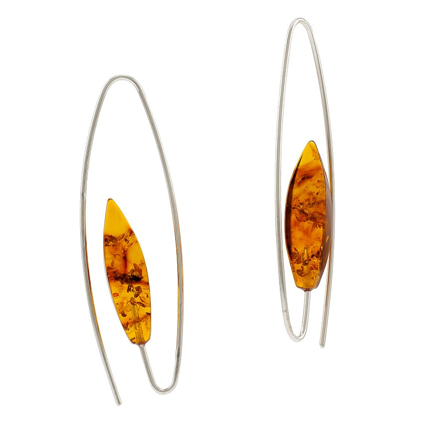 Cognac Baltic Amber Silver earrings