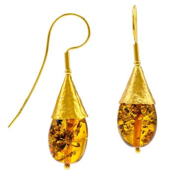 E078-Baltic Amber Gold plated cone drop earrings.
