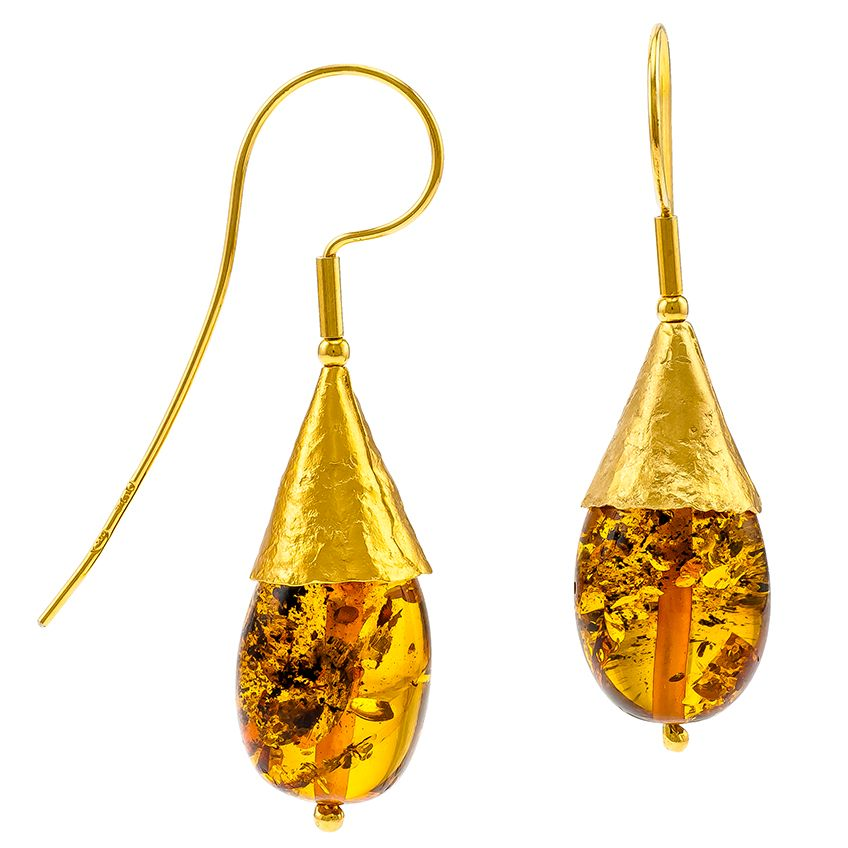 Baltic Amber Gold plated cone drop earrings.