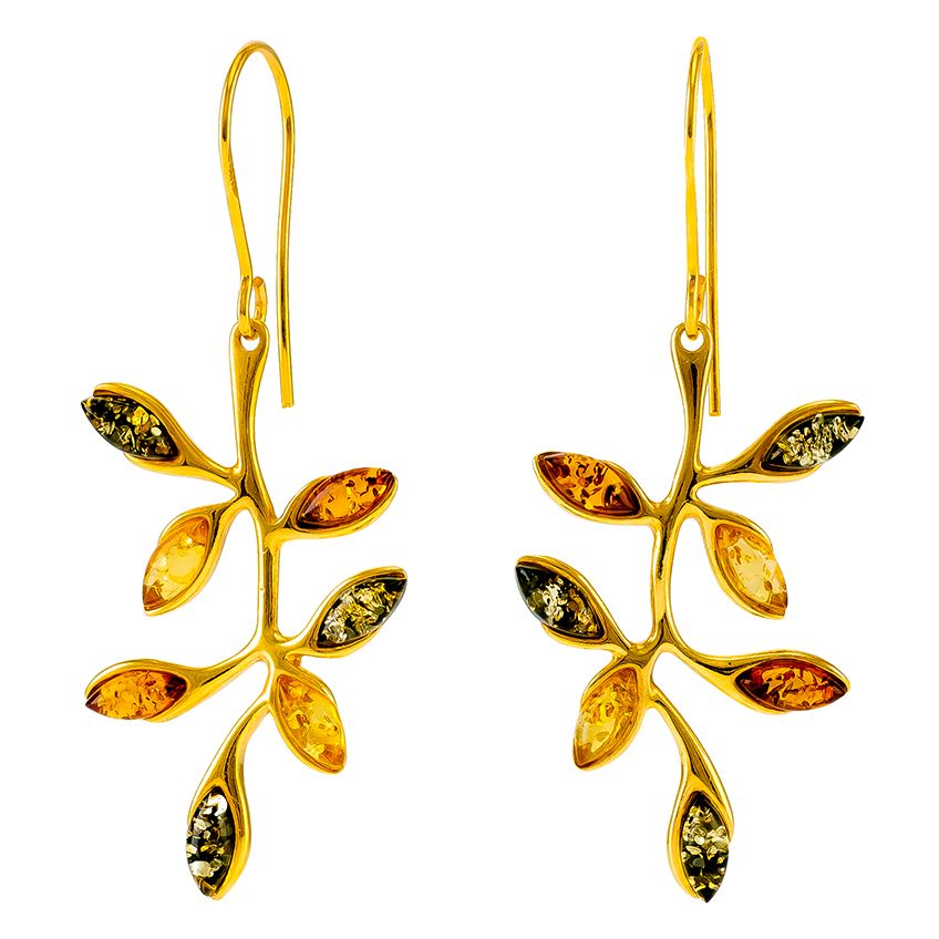 E079-Multicolour Amber  Goldplated Silver Leaf Drop Earrings.