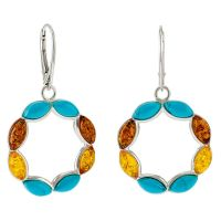E080-Turquoise, Cognac and Lemon Amber Silver Earrings