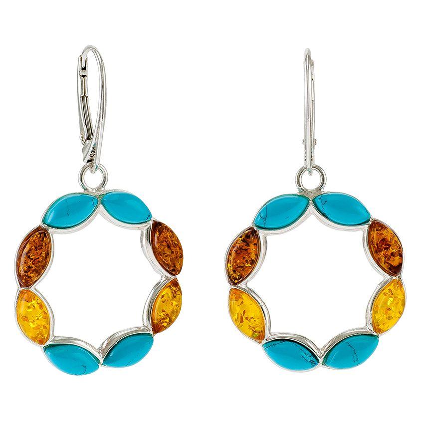 E080-Turquoise, Cognac and Lemon Amber Silver Earrings