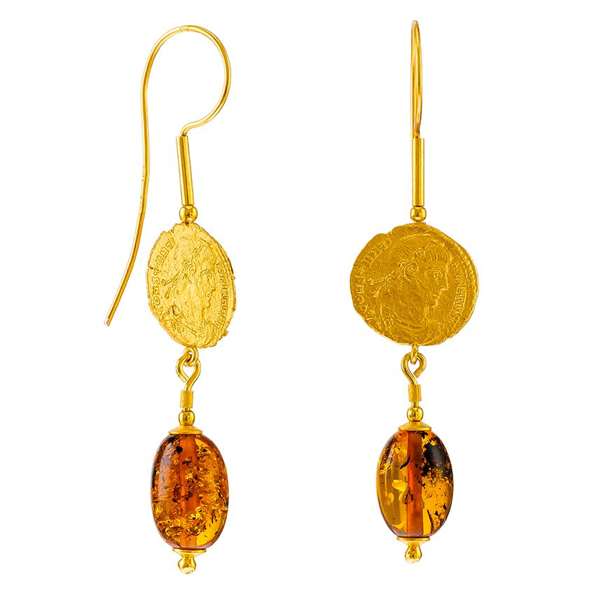 E081-Cognac Amber, Gold plated Silver Ancient Coin earrings