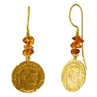 E082-Cognac Amber, Gold plated Silver Ancient Coin earrings