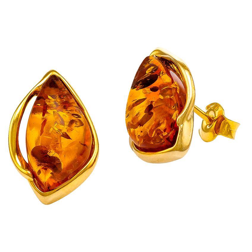 F032-Cognac amber goldplated stud earrings.