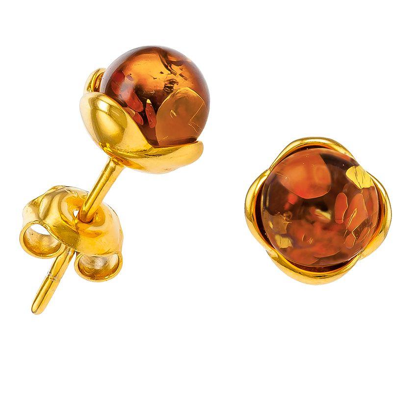 F033-Cognac amber ball studs.