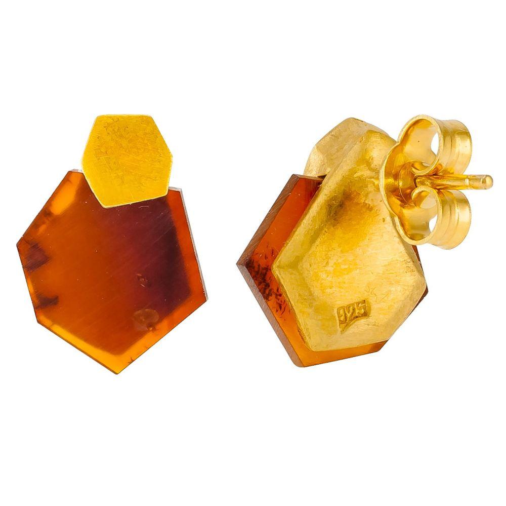 F034-Hexag Amber Stud earrings