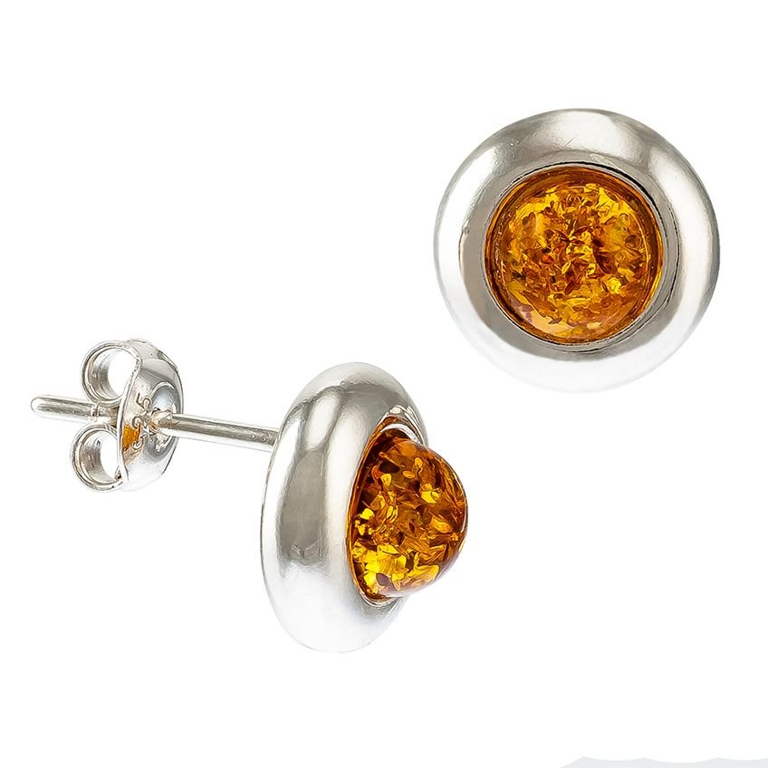 F035-Round amber Silver Studs