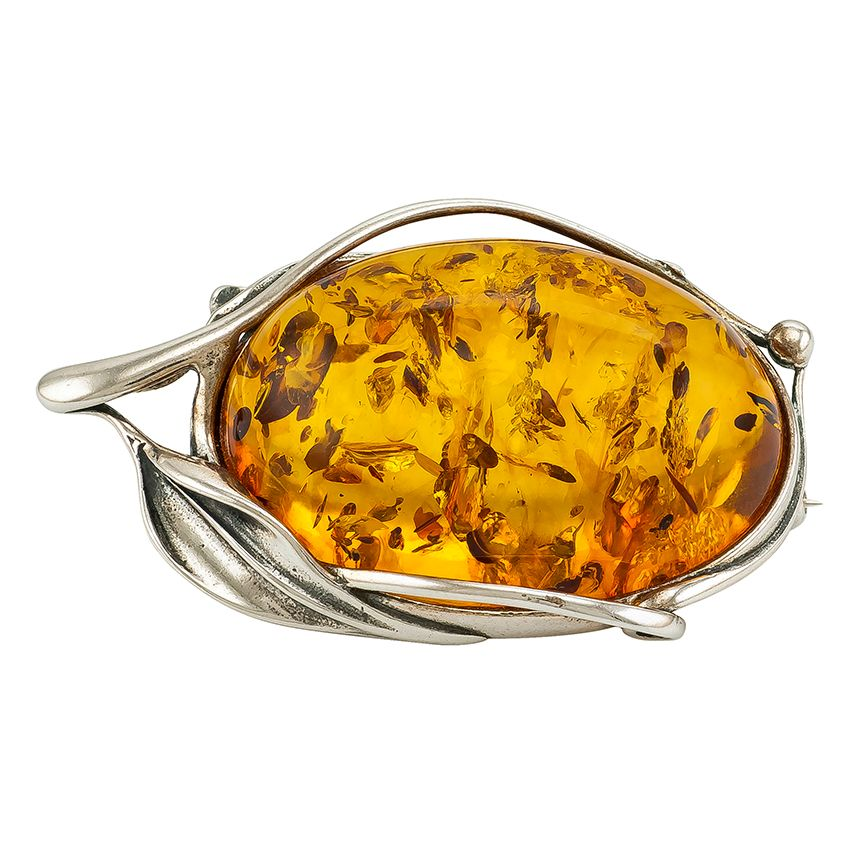 H014-Amber and silver brooch.