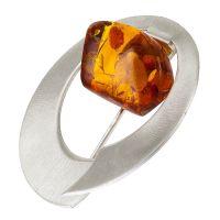H015-Cognac Amber Silver Brooch