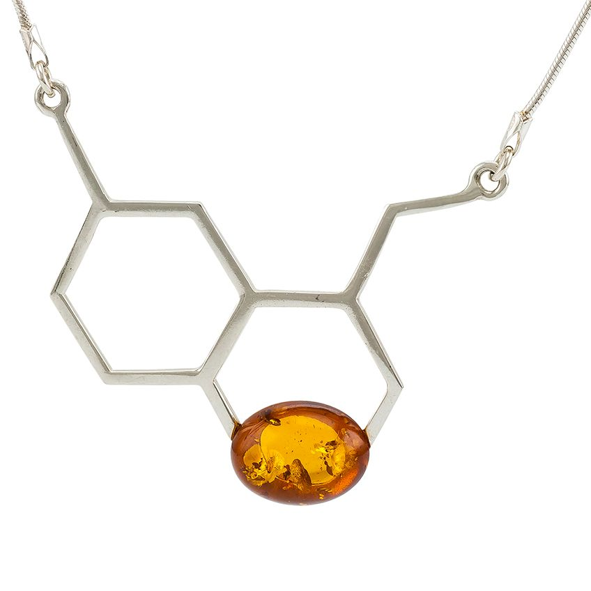 M013-Asymmetric silver collarl oval Amber