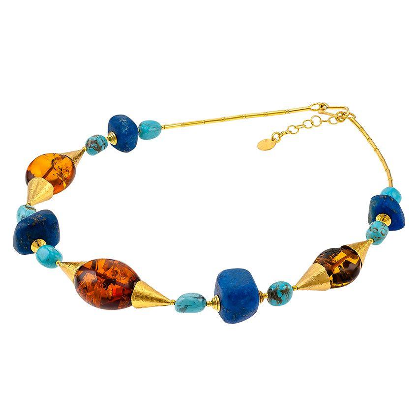 N027-Amber, Lapis Lazuli, Turquoise Necklace.