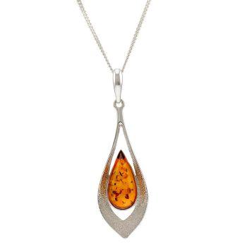 P067-Cognac Amber  Silver Pendant