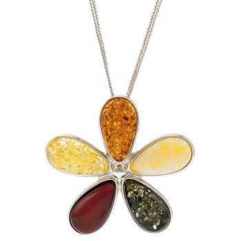 P068-Multicolour Amber Silver Daisy Pendant