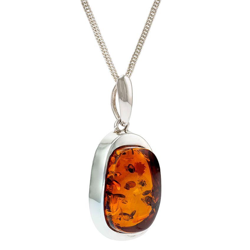 P069-Cognac Amber Silver Pendant