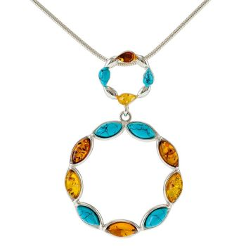 P070-Turquoise, Amber Silver Pendant