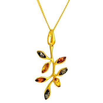 P071-Multicolour Amber Silver Leaf Pendant