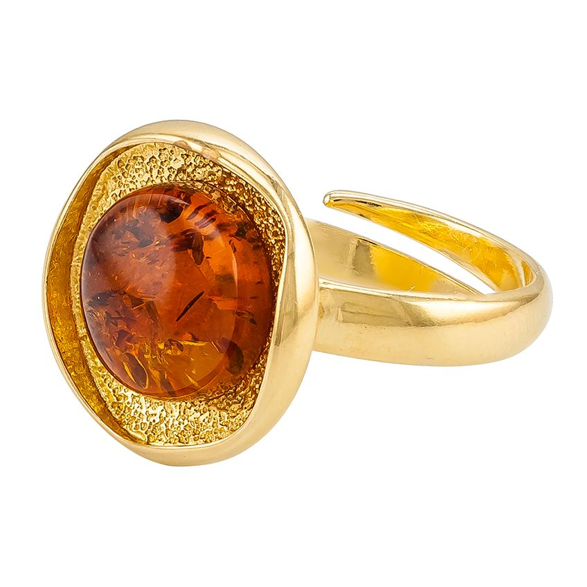 R008-K-Round Cognac Amber Goldplated Sivler Ring
