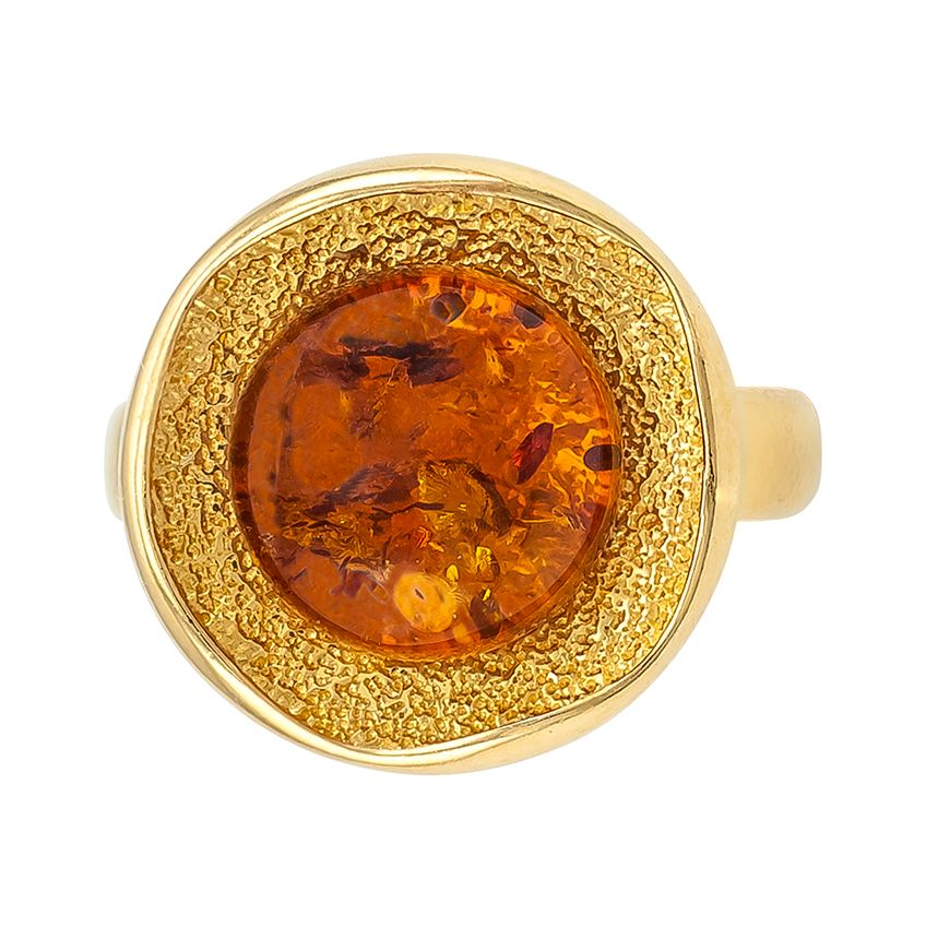 R009-M-Round Cognac Amber Goldplated Sivler Ring