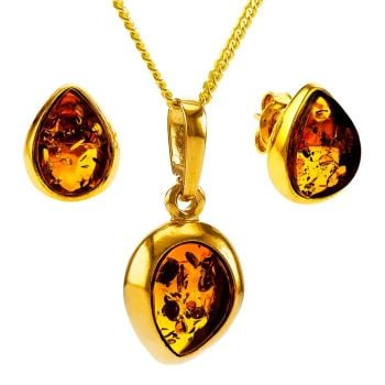 Z009-Cognac amber gold-plated tear drop pendant and stud earring gift set.