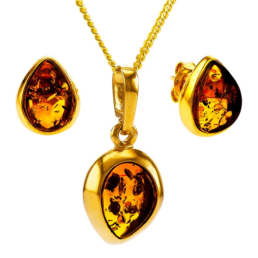 Z009-Cognac amber and gold-plated elegant silver tear drop pendant and stud