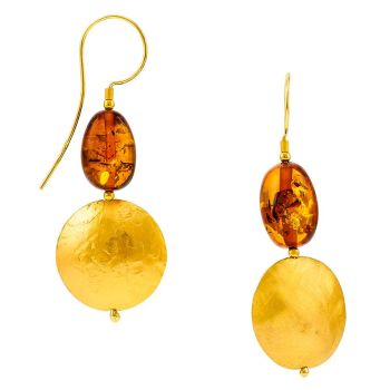 E083-DISC-1 Cognac Amber Gold Hook Earrings
