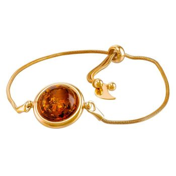 D026 - Cognac Amber Gold Plated Silver Adjustable Bracelet