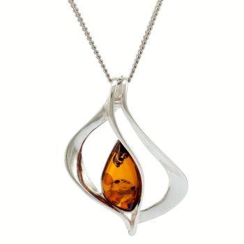 P078 - Cognac Amber Sterling Silver Scandi Pendant