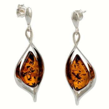 E086 - Cognac Amber Sterlibg Silver Scandi Drop Earrings