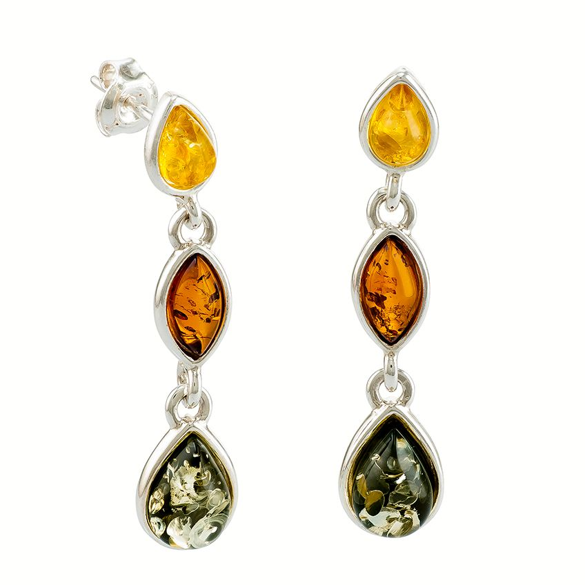 E085 - Multicolour Amber Silver Drop Earrings