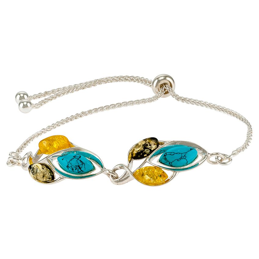 D027-311-Turquoise,Lemon and Green Amber adjustable bracelet