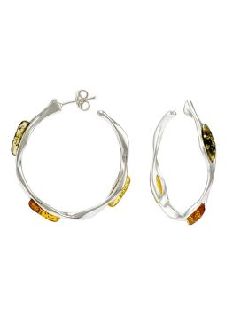 E096-402   Multicolour amber silver hoop earrings