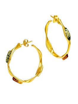 E095-404  Multicolour amber and gold plated silver hoop earrings